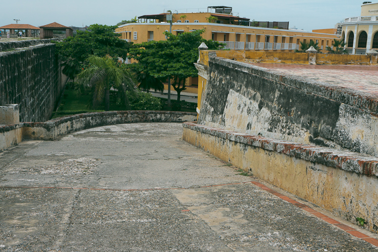 Behind the fort